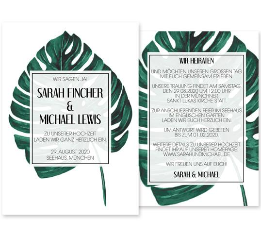 Individuelle Hochzeitseinladung Leaf Love. Die Einladungskarte ist sehr edel und modern. Die Hochzeitskarte ist von der Schönheit und den klaren Linien der Natur inspiriert.