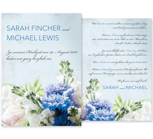Individuelle Hochzeitseinladung Elegant Bouquet. Die Einladungskarte ist sehr edel und romantisch. Die Hochzeitskarte besticht mit wundervollen Blumenarrangements.