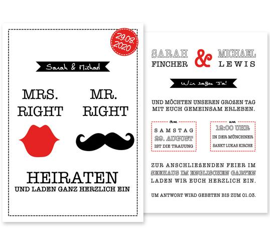 Individuelle Hochzeitseinladung Kiss the Moustache. Die Einladungskarte ist modern und witzig. Die Hochzeitskarte ist besonders beliebt bei jungen, frechen Paaren.