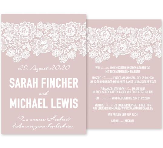 Individuelle Hochzeitseinladung Lace Love. Die Spitze verleiht der Einladungskarte einen besonders romantischen Touch. Die Hochzeitskarte ist somit genau das Richtige für eine klassische und elegante Hochzeit.