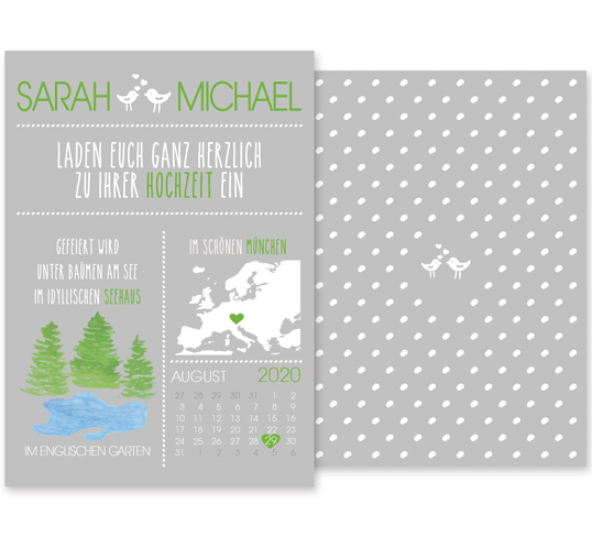 Individuelle Hochzeitseinladung Lake and Forest. Die Einladungskarten sind von einer Hochzeit unter Bäumen an einem idyllischen See inspiriert. Die Hochzeitskarten sind jung und verspielt.