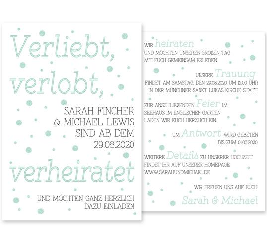 """Individuelle Hochzeitseinladung Love Saying. Die Einladungskarte ist von dem kindlichen Spruch """"Verliebt, verlobt, verheiratet"""" inspiriert. Die Hochzeitskarte ist frisch, modern und zugleich sehr romantisch."""