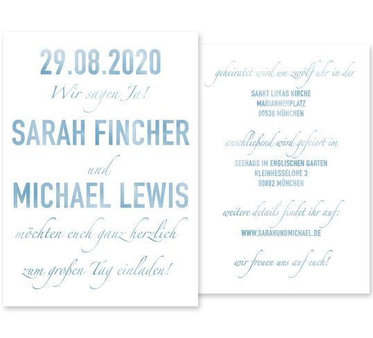 Individuelle Hochzeitseinladung Watercolor. Die Einladungskarte ist von einer Hochzeit am Strand inspiriert. Die Hochzeitskarte ist sehr frisch und modern und zugleich sehr liebevoll gestaltet.