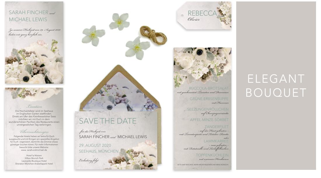 Individuelle Hochzeitseinladungen Elegant Bouquet. Die Einladungskarten sind sehr edel und romantisch. Die Hochzeitskarten bestechen mit wundervollen Blumenarrangements.