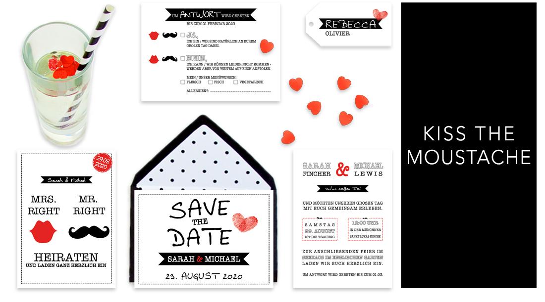 Individuelle Hochzeitseinladungen Kiss the Moustache. Die Einladungskarten sind modern und witzig. Die Hochzeitskarten sind besonders beliebt bei jungen, frechen Paaren.