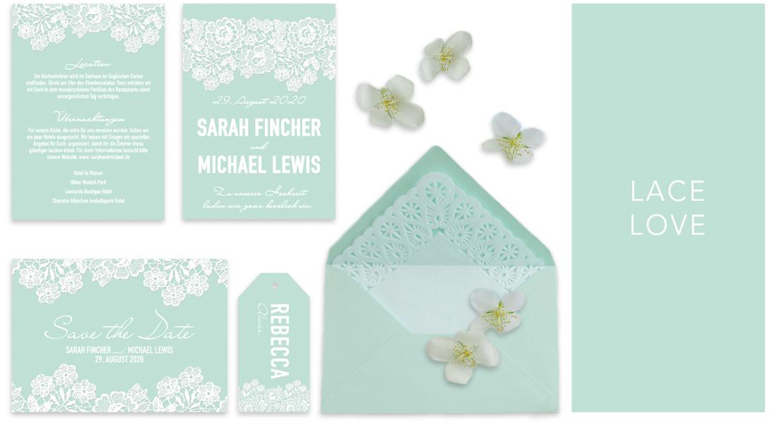 Individuelle Hochzeitseinladungen Lace Love. Die Spitze verleiht den Einladungskarten einen besonders romantischen Touch. Die Hochzeitskarten sind somit genau das Richtige für eine klassische und elegante Hochzeit.