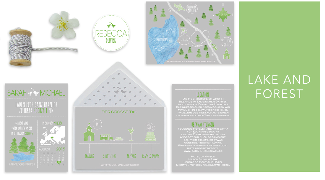 Individuelle Hochzeitseinladungen Lake and Forest. Die Einladungskarten sind von einer Hochzeit unter Bäumen an einem idyllischen See inspiriert. Die Hochzeitskarten sind jung und verspielt.