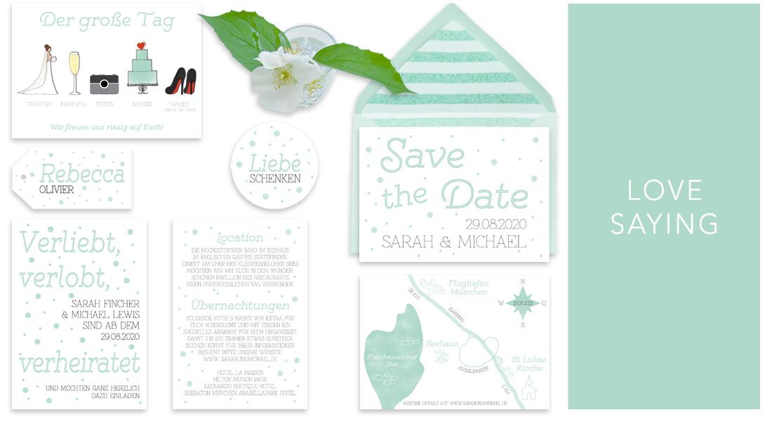 """Individuelle Hochzeitseinladungen Love Saying. Die Einladungskarten sind von dem kindlichen Spruch """"Verliebt, verlobt, verheiratet"""" inspiriert. Die Hochzeitskarten sind frisch, modern und zugleich sehr romantisch."""