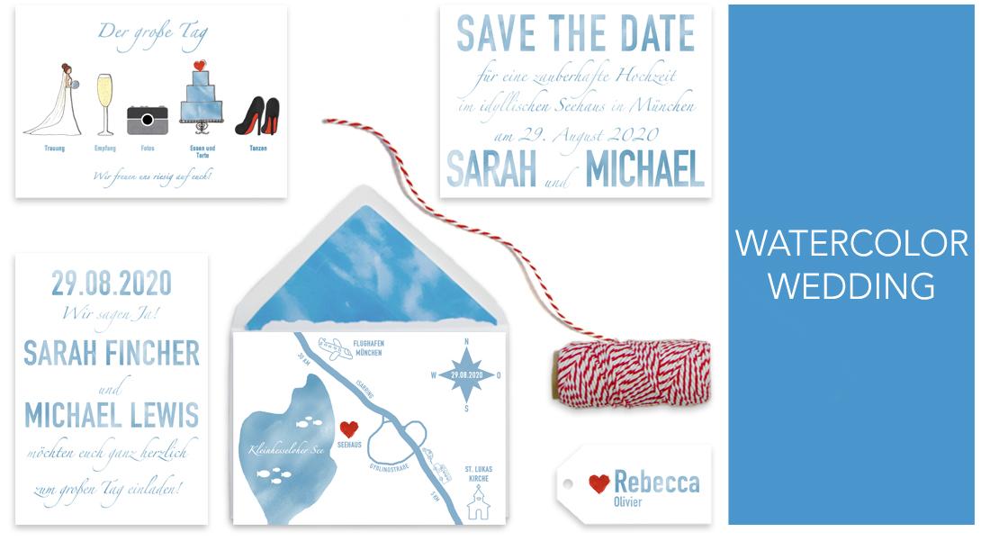 Individuelle Hochzeitseinladungen Watercolor. Die Einladungskarten sind von einer Hochzeit am Strand inspiriert. Die Hochzeitskarten sind sehr frisch und modern und zugleich sehr liebevoll gestaltet.